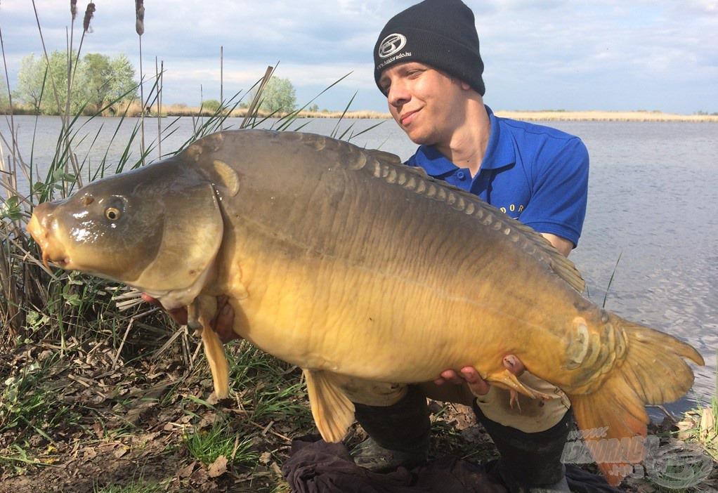 Kézben a túra hala! A gyönyörű tükrös súlya 13,40 kg! A csalit, azt hiszem, mondanom sem kell…