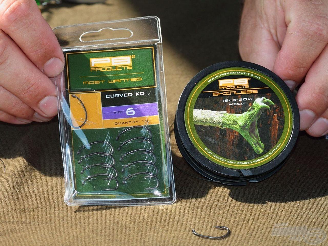 A Skinless zsinór és Curved KD horog kombinációjából készített előke ideális választás dobós horgászatokhoz