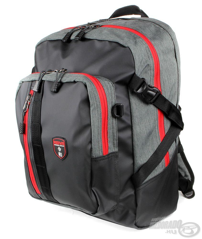 Piros-fekete-szürke színkombinációjú, víztaszító anyagból készült hátizsák