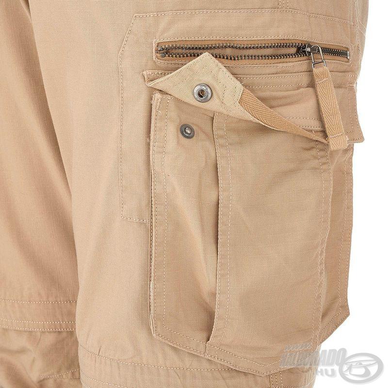… egy cipzáras és patentos dupla zseb a nadrágszár combrészének jobb oldalán…