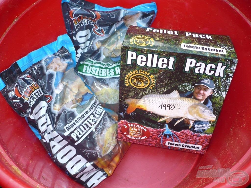 Pelletes Fekete, Fűszeres Hal etetőanyagok és egy doboz Fekete Gyémánt Pellet Pack