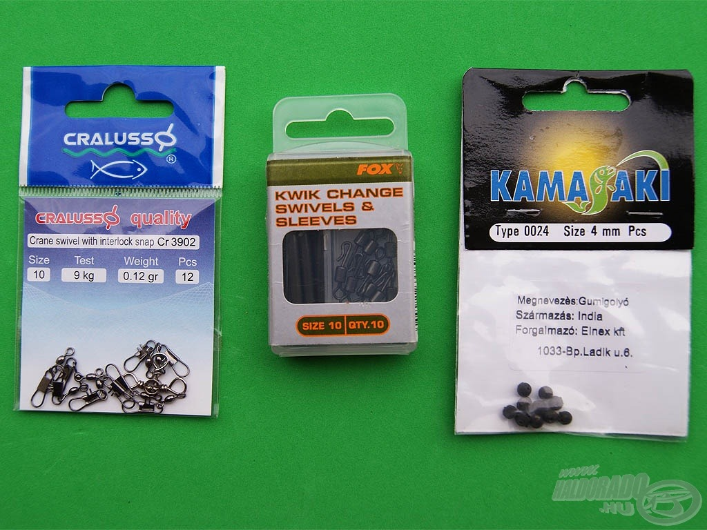 Néhány hasznos kiegészítő: forgókapcsos karabiner, gyorscsatlakozós gumikúp és gumigyöngyök