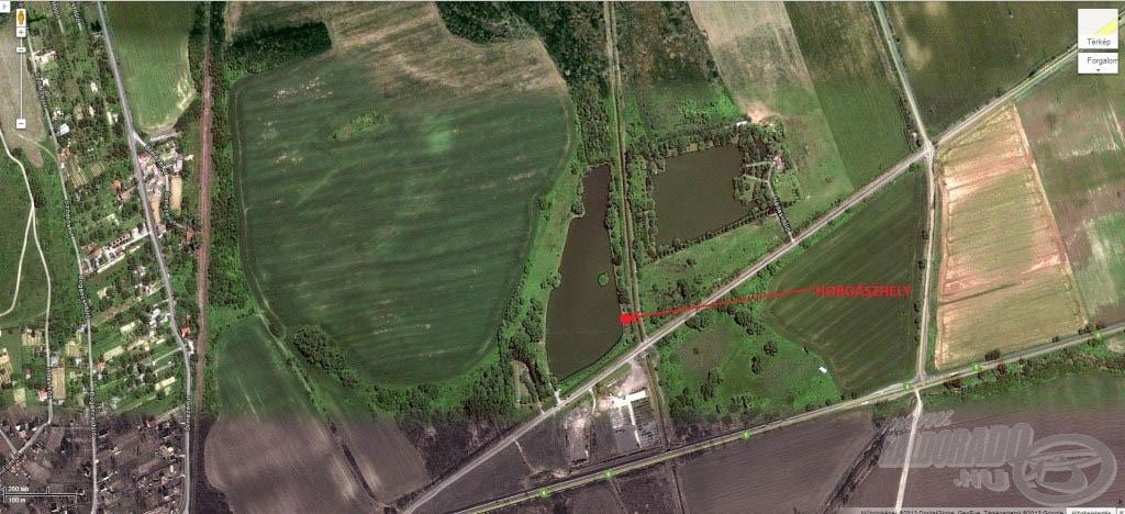 A tó elhelyezkedése és horgászhelyem (Forrás: http://maps.google.com)