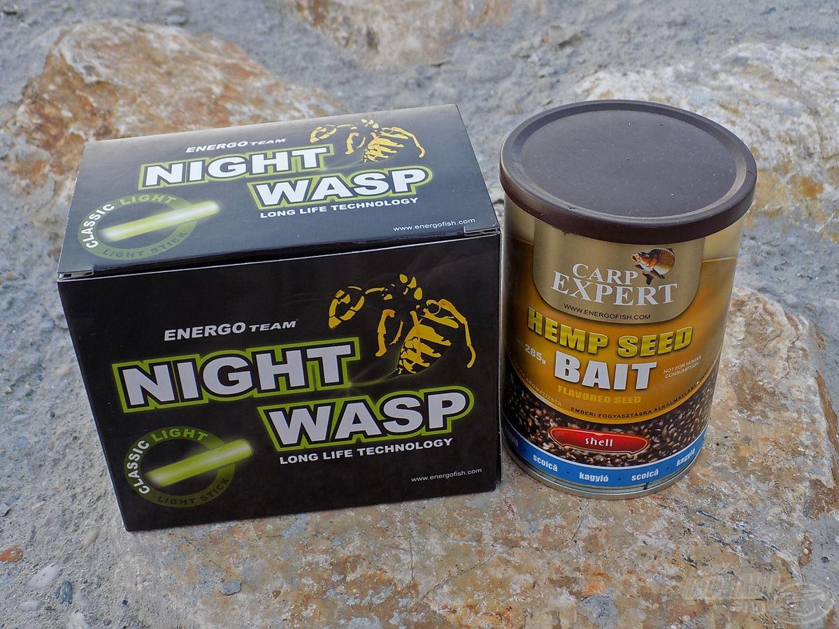Night Wasp világítópatron és az etetőanyag hatásfokát javító dobozos kender is belekerült az összeállításba. A kenderért a tavaszi időszakban (is) rajonganak a keszegfélék