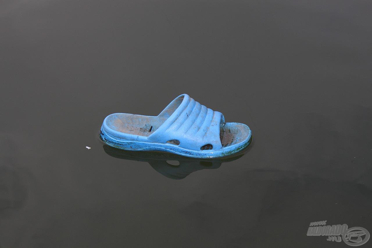 Tiszai utazó - sok minden vackot hoz rendszeresen a víz, valaki lelépett a papucsról, el is süllyedt szerintem, bezzeg ha rajta maradt volna, még most is itt állna felette