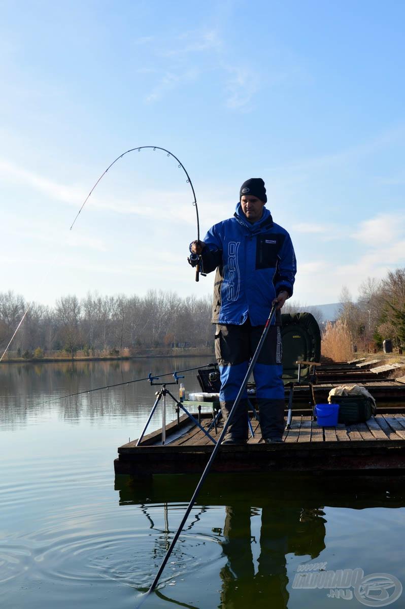 """A pickerbotok előnye, hogy rugalmasságukkal folyamatos """"munkára"""" kényszerítik a halat, amely így gyorsan elfárad"""