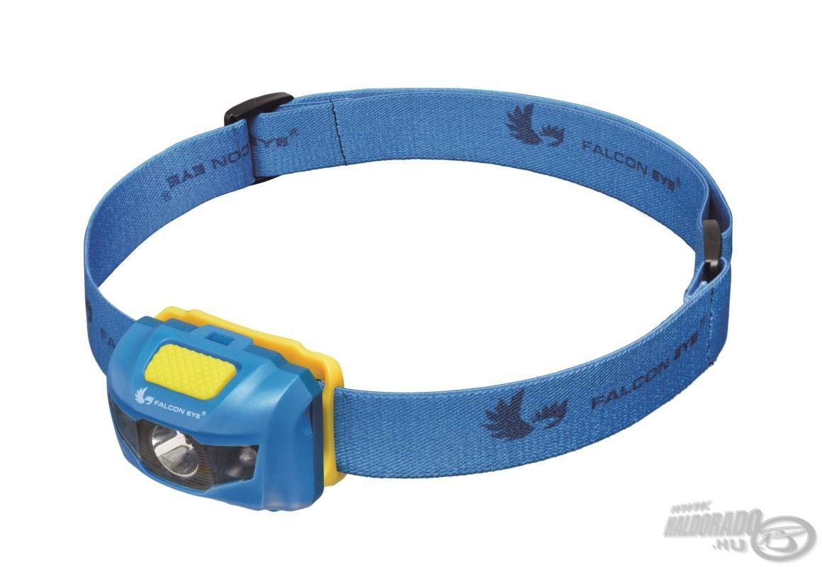 Kompakt kivitelezésű, egyszerűen használható, minőségi fejlámpa, kék dizájjnal