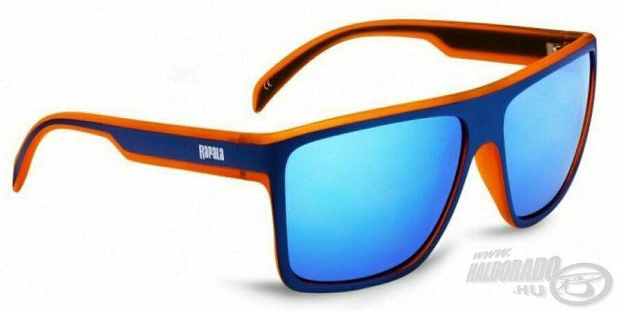A Sportsman's UVG-282A napszemüveg igazán divatos sötétkék és narancssárga kerettel, illetve kék színű tükörbevonatos lencsével rendelkezik