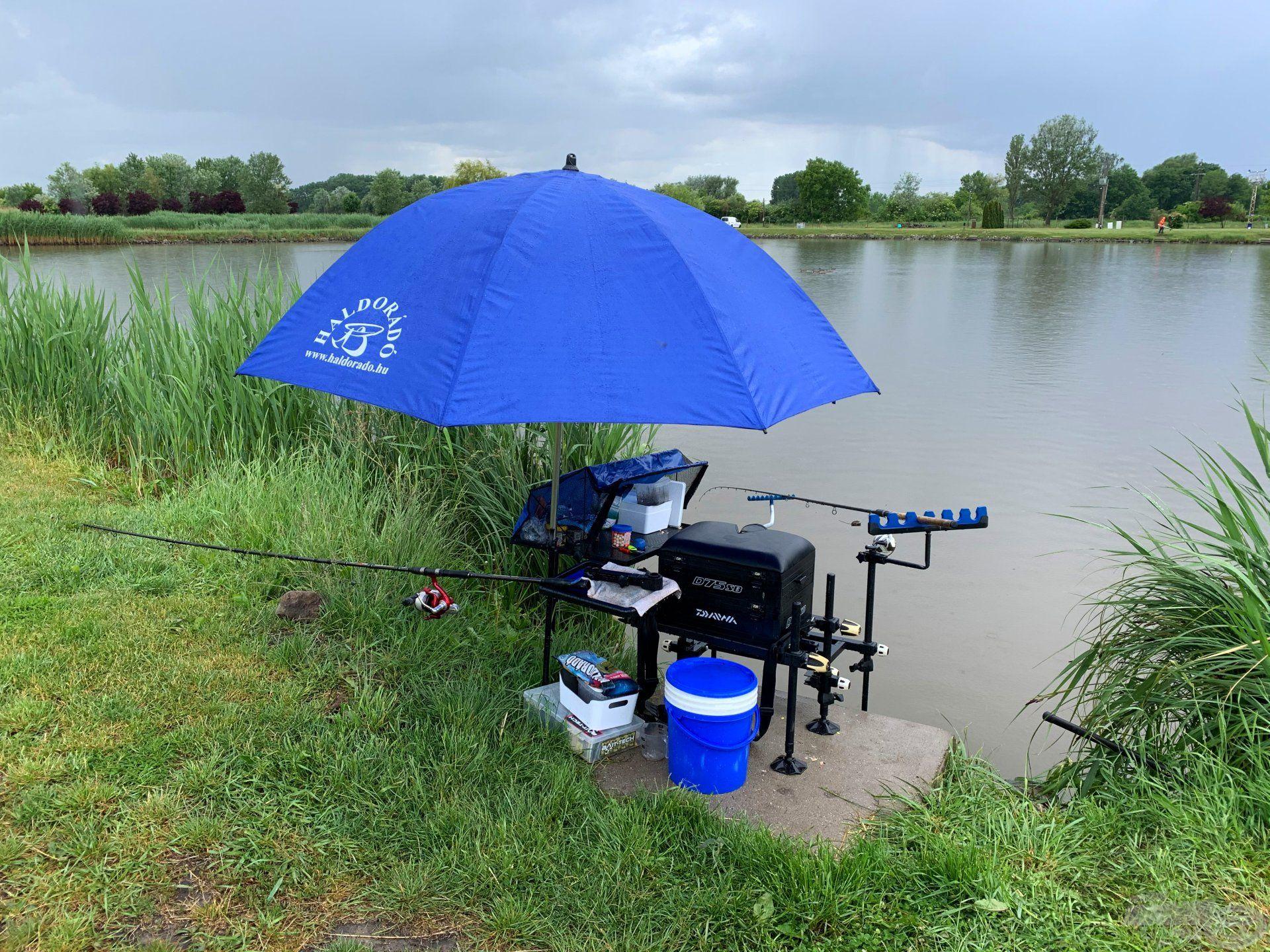 … a horgászállásomhoz pedig felállítottam az ernyőmet