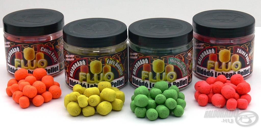 A Haldorádó Oldódó Fluo Lebegő pelletek 4 különböző, igazán különleges ízben kerülnek 2012-től forgalomba