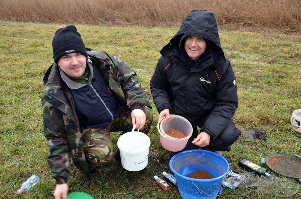 Az etetőanyagot elfelezve kezdtünk a horgászathoz