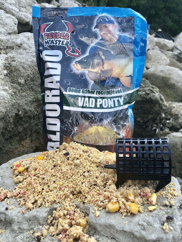 A legendás Vad Ponty etetőanyag évek óta bizonyítja rendkívüli fogósságát a vadvízi horgászatok során is, imádják a pontyok és amurok. Ez került a kevéske maggal keverve a feederkosárba