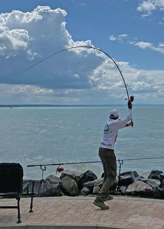 A szokott módon sem magam, sem pedig a felszerelésem nem kíméltem, hogy minél távolabb tudjam végszerelékemet bedobni, amely ITT IS a sikeres parti horgászat egyik záloga
