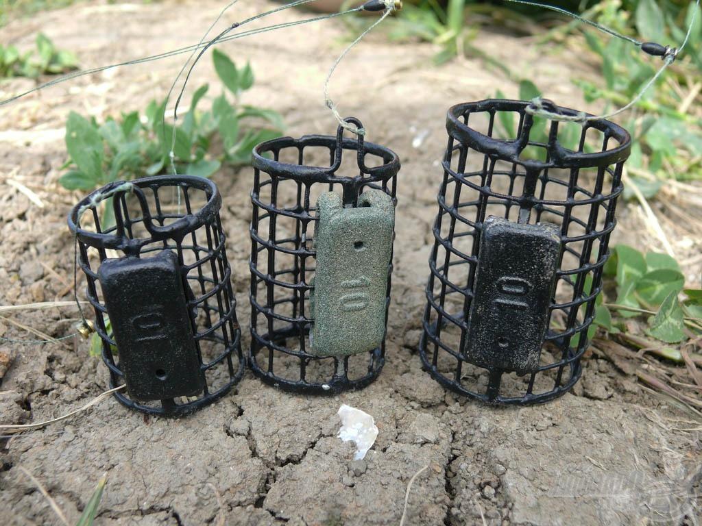 Minden végszereléken a Haldorádó Special Round feederkosár volt. A kosárméret különböző, azonban az ólomnehezék csak 10 g mindegyiken