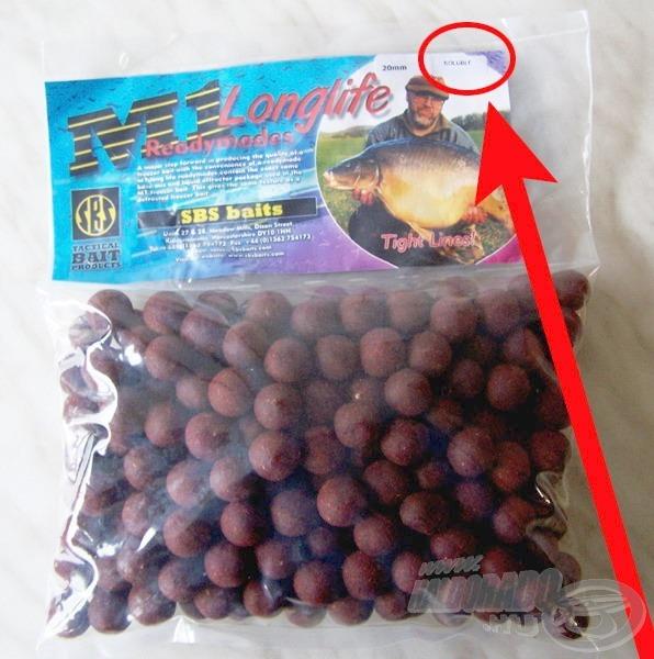 E terméket a klasszikus M1 bojli csomagolásától csak a Soluble (oldódó) felirat különbözteti meg!