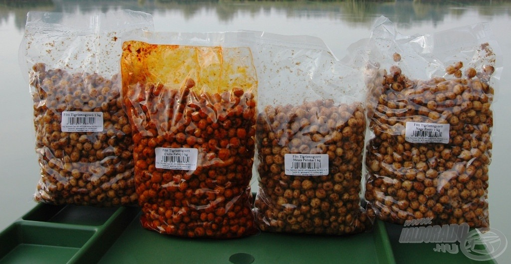 A különböző ízesítésű tigrismogyorók sokat segítenek a pontycsalogatásban