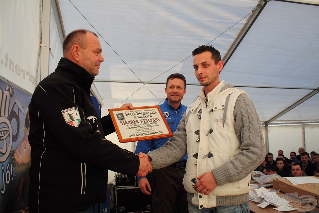 A Berek Horgászpark jóvoltából az egyik fődíj egy 3 napos 4 személyes horgászati lehetőség is gazdára talált