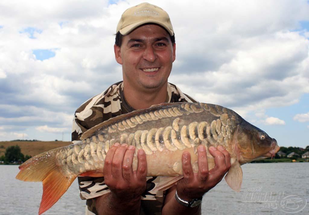 A bojlival horgászó Bakos Krisztián spanyol mintázatú gyönyörű pontya