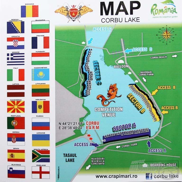 A világbajnokság helyszínéül szolgáló romániai Lac Corbu tó térképe