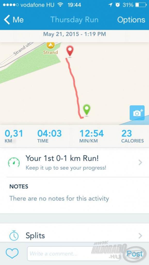 Egy futóprogram segítségével mértem a távolságot és irányt