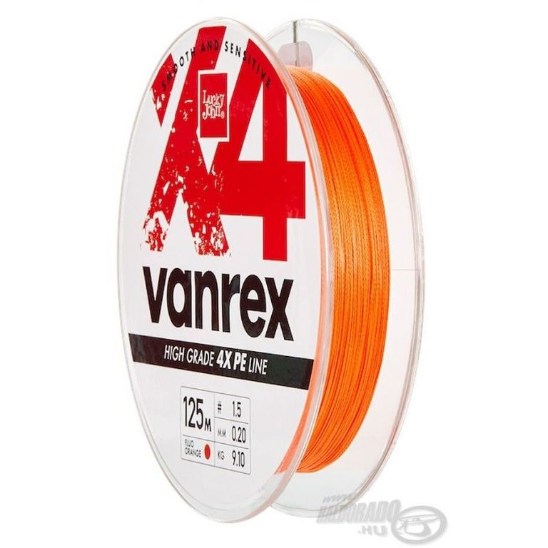Lucky John Vanrex X4 Braid Fluo Orange 125 m - 0,08 mm