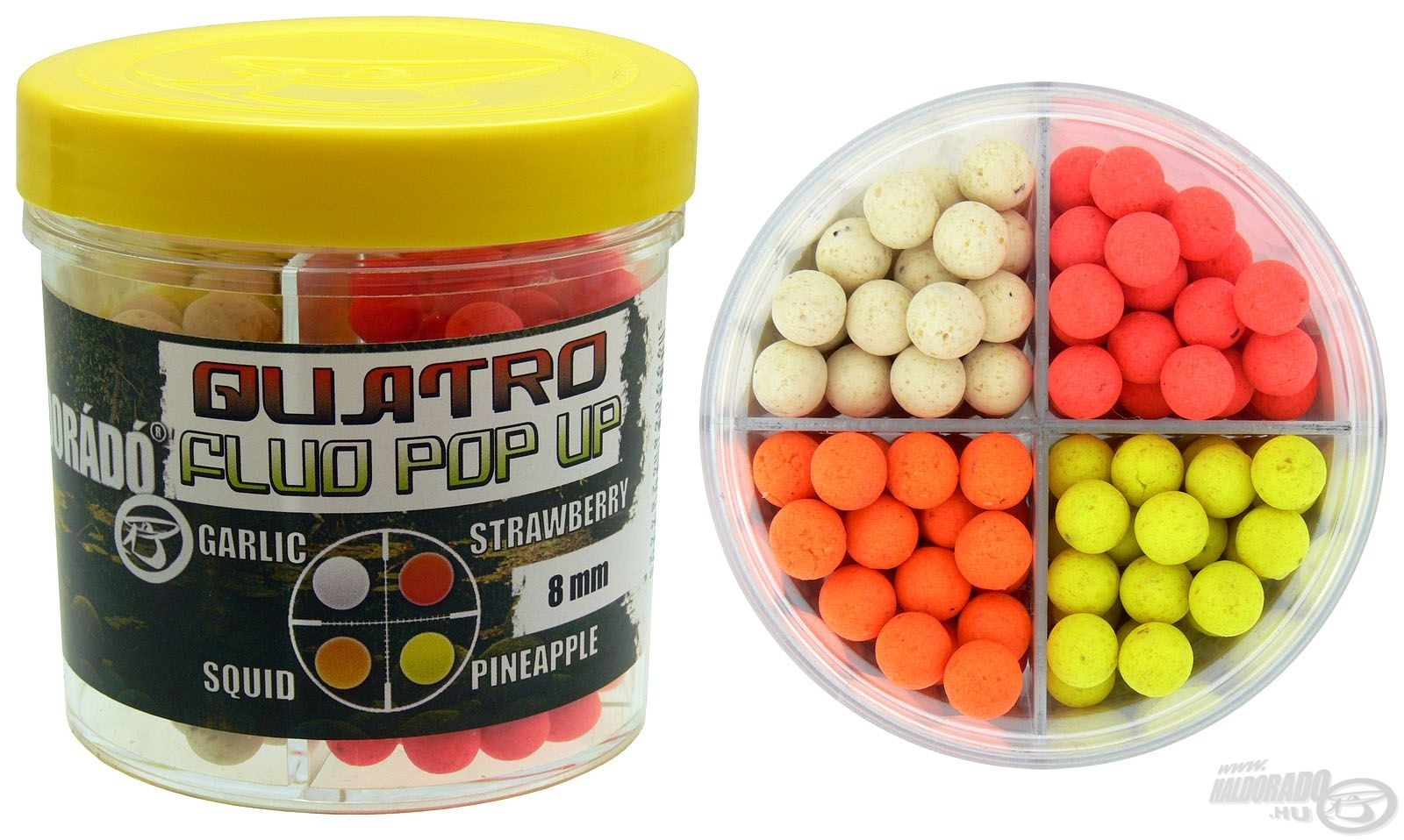 HALDOR�D�, Quatro Fluo Pop Up Boilies 8 mm