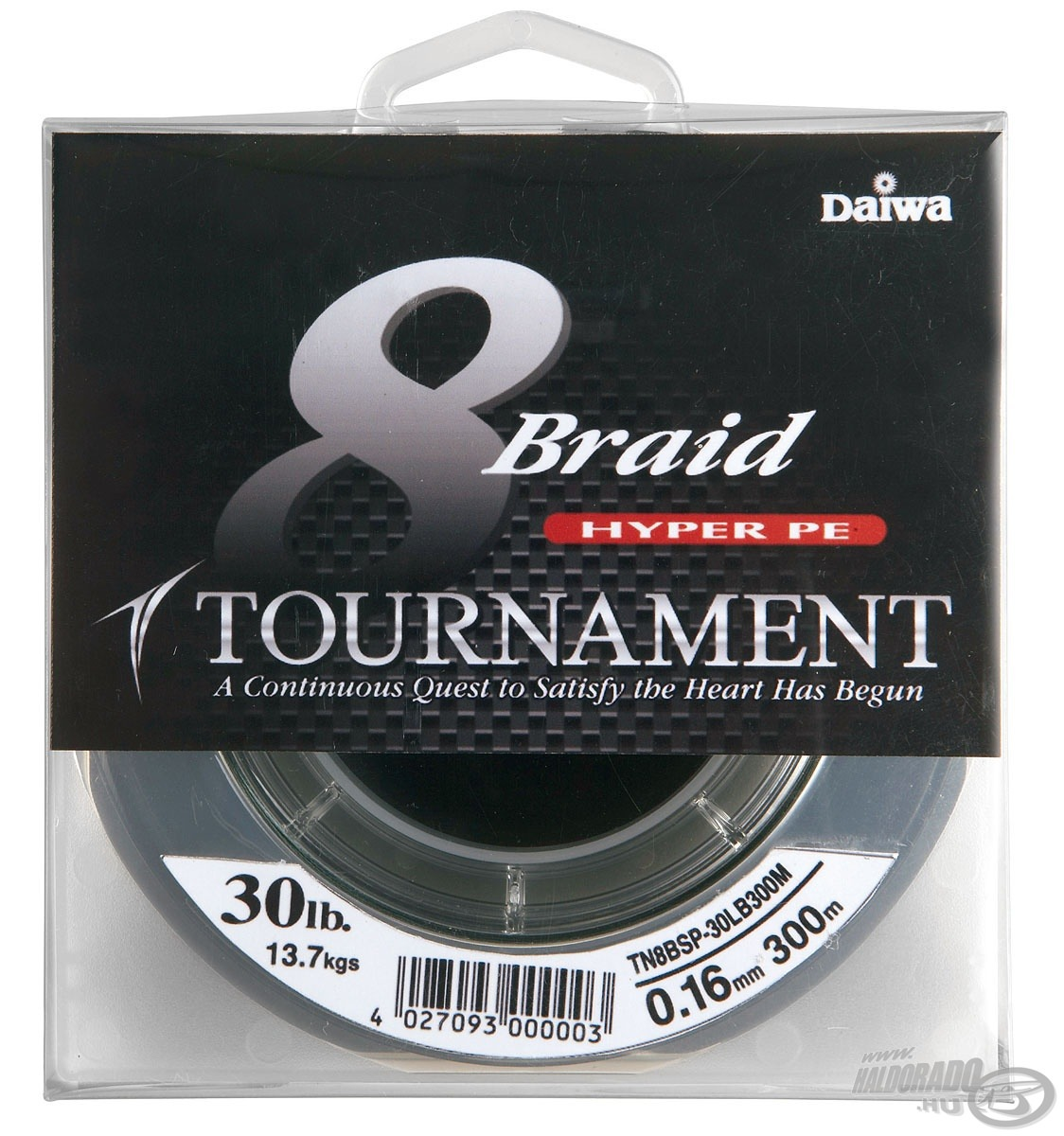 DAIWA, Tournament, 8X, Braid, 0,16, mm, -, 300, m 16990, helyett, 13890Ft