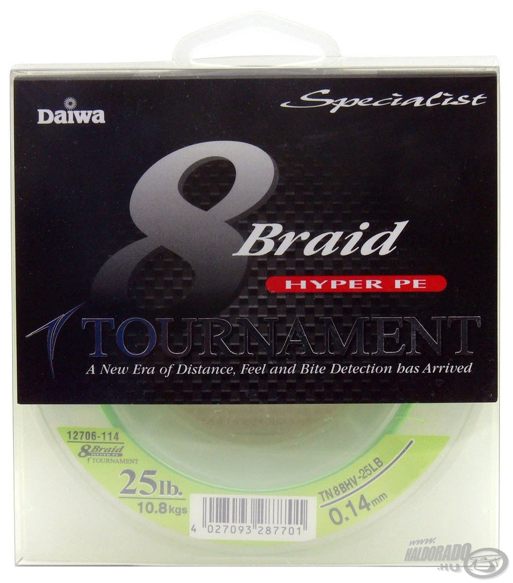 DAIWA, Tournament, 8X, Braid, neon, z�ld, 0,12, mm, -, 135, m 11990, helyett, 10490Ft